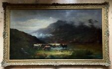 19th Century Large Oil Painting On Canvas Signed W. H. COLLINS gilt frame