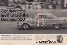 1966 PLYMOUTH HEMI BELVEDERE / RICHARD PETTY @ DAYTONA 500 ~ 2-PG GOODYEAR AD