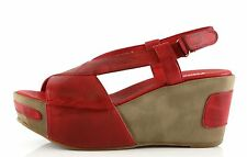 Antelope Woman's Red Leather Wedge Sandals 8837 Size 39 EU NEW!
