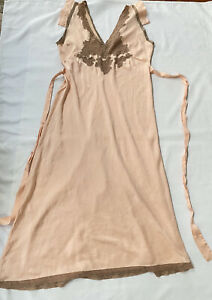 Vintage Satin Dasche Lingerie Gown Negligee Nightgown Peach w Lace