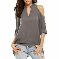 Short Sleeve Tops V Neck Loose Blouse Casual T-Shirt Floral Jumper O Neck