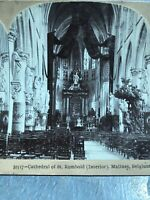 Antique Stereoview Card Photo CATHEDRAL ST. ROMBOLD INTERIOR MALINES, BELGIUM