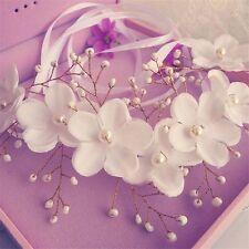 Bridal Headband Pearl White Flowers Hair Accessory Wedding Girls Women's Racing
