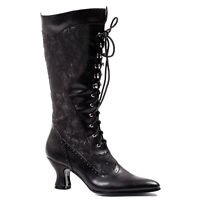 Ellie 253-REBECCA Women's Black Victorian Western Costume Wedding Knee Boot Heel