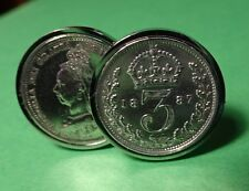 GenuineTop Quality Victorian 1887 Antique .925 Silver Threepence  Cufflinks