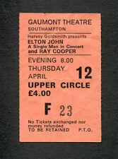 1979 Elton John Ray Cooper Concert Ticket Stub Southampton Blue Moves Rocket Man