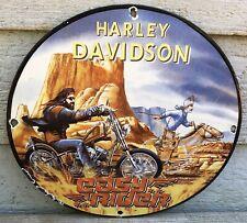 1969 ''HARLEY-DAVIDSON'' EASY RIDER GAS & OIL PLATE PORCELAIN SIGN 12 INCH