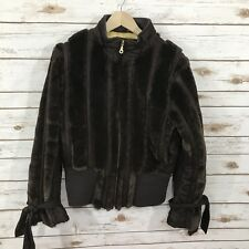 Baby Phat Coat Jacket Size Large Brown Faux Fur Zippered Zip Up Lined