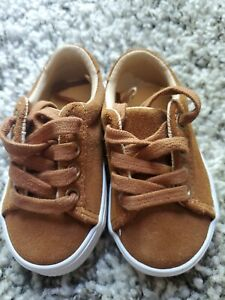 Janie And Jack Toddler Boy Brown Suede Laced-Up Sneaker Size 4 $59
