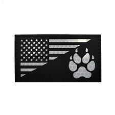 Reflective IR US FLAG K9 Paw Subdued Tactical Hook Patch Tracker Dark