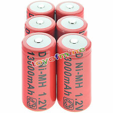 6x D size 1.2V 13000mAh Ni-MH Red Color Rechargeable Battery USA