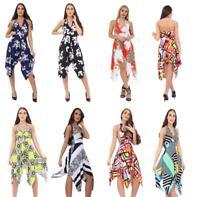 Womens celeb Backless Sleeveless Hanky Hem Dress Casual Summer Halter Neck Top
