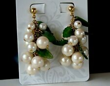 Vintage Cha Cha Faux Pearls with Molded Art Glass Leaves Dangle Pierced Earrings