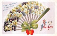 VALENTINE HOLIDAY PANSIES FLOWER FAN POSTCARD (c. 1909)