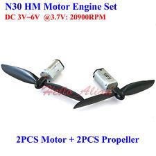 2PCS N30 engine DC 3V 3.7V 20900RPM High Speed Mini HM Aircraft Motor+Propellers