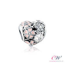 Poetic Blooms Flower Charm Silver Plated for Charm Bracelet - Pink