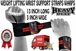 """13"""" BODYBUILDING WEIGHT LIFTING GYM TRAINING WRIST SUPPORT BAR STRAPS WRAPS"""