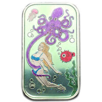 Octopus Aqua Sexy Babe Green Enameled 1 oz .999 Silver Art Bar #15 of 37 Minted!