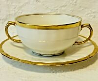 Antique Gold Rim Porcelain Bawo Dotter Elite Works Porcelain Cup Saucer Limoges