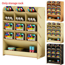 Top Desk Organizer DIY Wooden Pen Holder Box Stationary Storage Rack STOCK