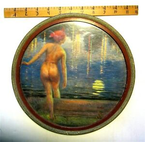 Lovely 11 Inch Round Vintage Frame Nude Woman Bathing in Pond