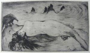 Alberto MARTINI (Oderzo 1876–Milano 1954) LA SIRENA DORMIENTE Incisione cm 11x20