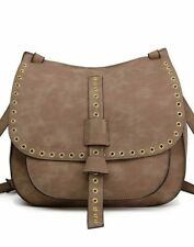 Women Designer Suede Cross Body Shoulder Fashion PU Leather Saddle Bag Brown