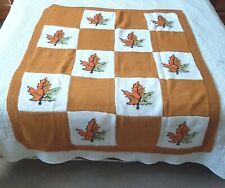 Handmade Vintage Autumn Leaf Granny Square Knit Afghan Throw Blanket