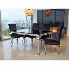 Black Glass Dining Table Furniture Living Room Contemporary Polished Metal Legs
