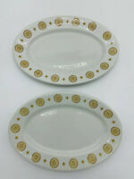 Vintage Shenango China Interpace Oval H-27 Gold Medallion Restaurant Platter x2
