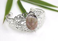 Fire Agate Stone Bracelet Filigree Silver Plated Bangle Beige / Peach Cabochon