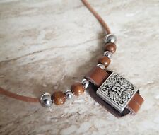 Mens beaded necklace,stainless steel,hand made,leather,surfer,7 sizes made
