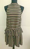 Shona Joy Women's size 6 Dress Multi-Coloured Sleeveless Dropped Waist Flounce