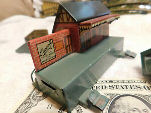 VINTAGE BING CLOCKWORK STEAM TRAIN SET WITH TRACK AND BULDINGS IN GREAT SHAPE