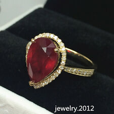 Estate 8.0*12.0mm Pear Ruby Natural Diamond 14k Solid Yellow Gold Gorgeous Ring