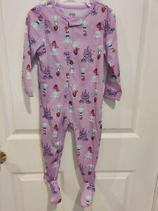 Carter's Zip Up Footie Pajamas No Slip Feet Girls 24 Month Purple Princess