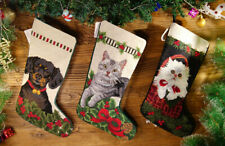 HandCrafted Vivid Cute Puppy Lovely Cat in Basket Needlepoint Christmas Stocking