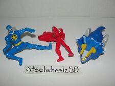 Power Rangers Dino Thunder Blue & Red Ranger Tricera Zord McDonalds Figure Lot