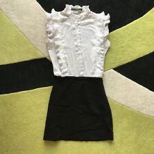 Abito Vestito ZARA Bianco XS nuovo nero camicia gonna stretch dress robe mini