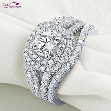 Engagement Ring Set For Women Size 8 3pcs Round White Cz Blue Wedding Bands