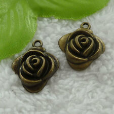 free ship 120 pcs bronze plated flower charms 26x24mm #2834