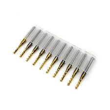10pcs Titanium Coating 2mm 1/8'' Shank Engraving Bit End Mill PCB CNC Cut Tool