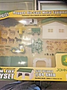 Rare Vintage ERTL John Deer 40 Pc. Die Cast Metal Equipment Farm Toy Playset NOS