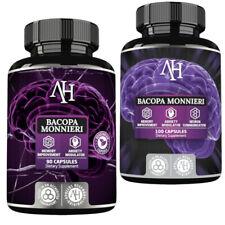 Bacopa Monnieri Capsules Organic Brahmi Herbal Remedy Stress Relief Memory Boost