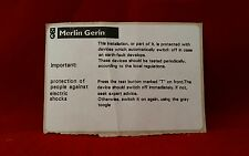 MERLIN GERIN RCD PROTECTION STICKER CONSUMER UNIT FUSE BOARD SPARES