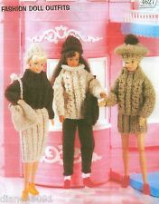 Fashion Doll Clothes Knitting Pattern 3 Complete Winter Outfits Patterns
