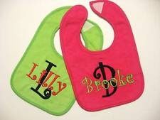 2 Monogrammed Baby Bibs  Letter & Name -Many Colors NEW