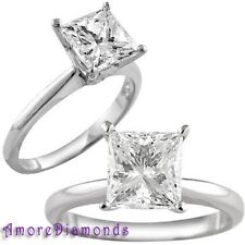 1 3/4 ct J VVS2 princess cut natural diamond solitaire ring platinum size 6.5