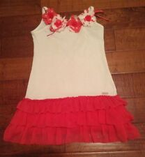 MISS GRANT pink and white dress with ruffled skirt, girls size 6-7