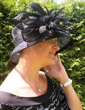 Damen Hut schwarz Trauer Anlasshut Hochzeit Elegant Festlich Sisal Stroh